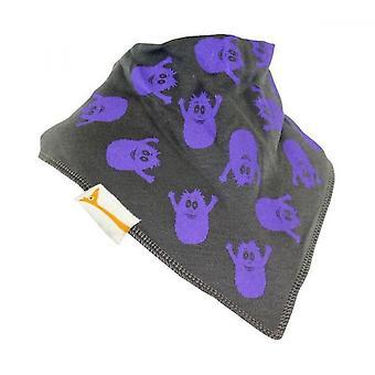 Grey & purple messy monsters bandana bib