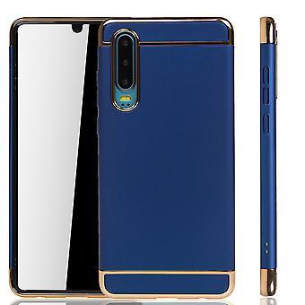 Huawei P30 telefoon geval bescherming geval bumper harde kaft blauw