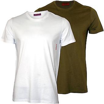 Hugo 2-Pack Side Logo Crew-Neck T-Shirts, Khaki/White