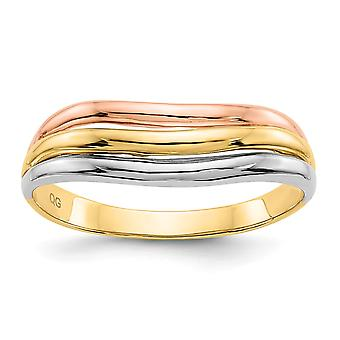 14K Tri Color Solid Polished Open back Gold Fancy Ring Size 6 Joias Gifts for Women - 3.0 Grams