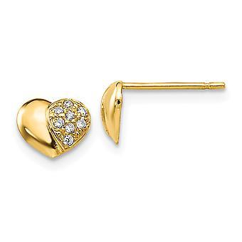 14k Yellow Gold Madi K Cubic Zirconia for boys or girls Heart Post Earrings