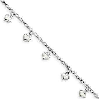 925 Sterling Silver Hollow Polished Puffed Heart Anklet 9 Inch Spring Ring Jewelry Gifts for Women
