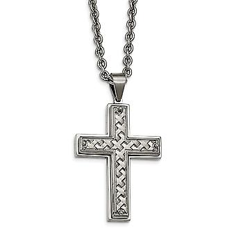 Stainless Steel Polished Weaved Pattern Religious Faith Cross Necklace 24.5 Inch Jewelry Gifts for Women