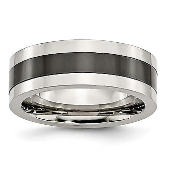 8mmステンレス鋼フラット彫刻可能なベース、ポリッシュブラックセラミックセンターバンドリングジュエリーギフト付き - Ring Siz