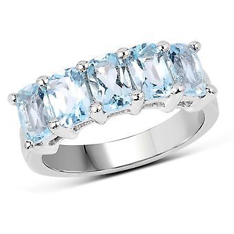 Dazzlingrock collectie sterling zilver kussen gesneden Blue Topaz dames 5 stenen bruids Verlovings ring