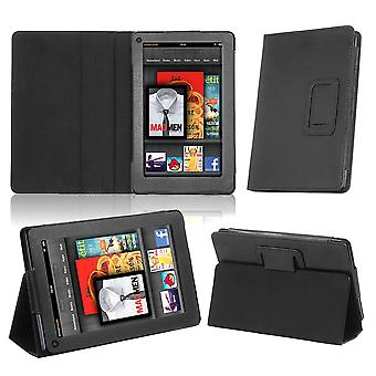 TRIXES Black Faux Leather Case Cover Wallet Amazon Kindle Fire