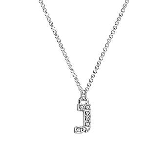 Pave initial necklace letter j created with swarovski® crystals