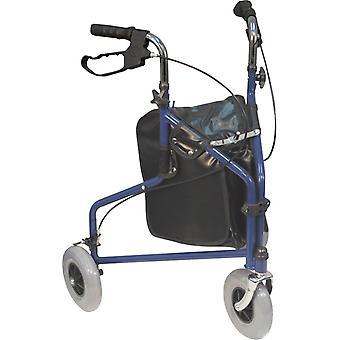 Aidapt rollator 3 wielen - met tas - blauw