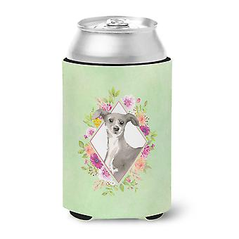 Italian Greyhound Green Flowers Can or Bottle Hugger