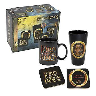 De Lord van de ringen Gift Box een ring zwart/goud, afgedrukt, 4-delige, in geschenk doos.