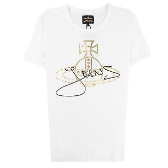 Vivienne Westwood Anglomania Gold Foil Jeans Orb T-shirt Blanc