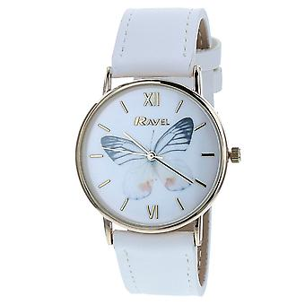 Ravel Ladies - Womens White Dial & White PU Buckle Strap Watch R0135.04.2