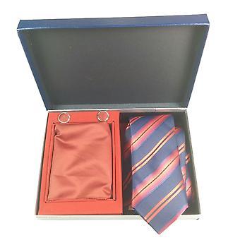 Tie, Cufflink & Hankerchief Set Exlusive Milan Collection 100% Hand Made Navy With Red Stripes