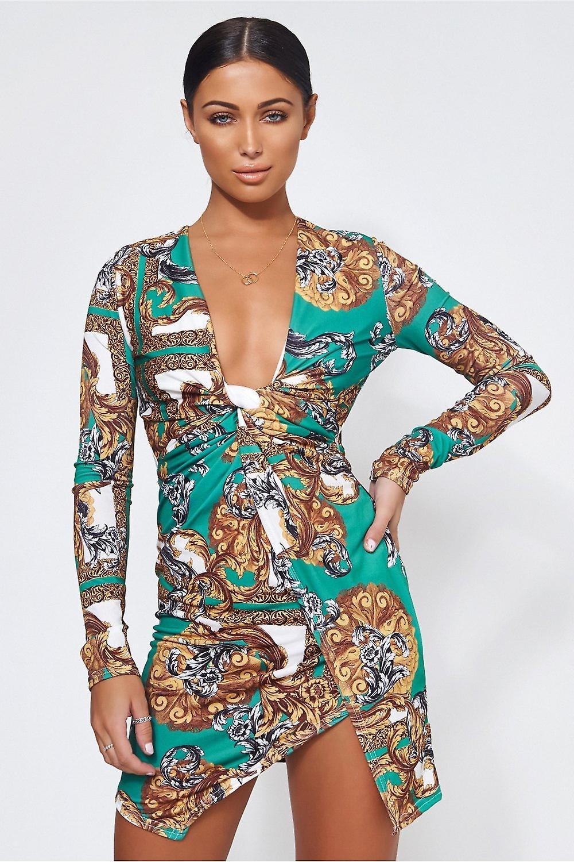 Green Scarf Print Twist Front Mini Dress
