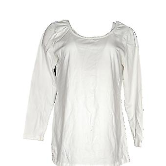 Women with Control Women's Petite Top Petite Long Sleeve Tunic White A302269