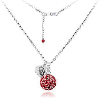 925 Sterling Silver Rhodium Plated Spirit Sphere Necklace University Of Oklahoma 18 Inch Jewelry Gifts for Women