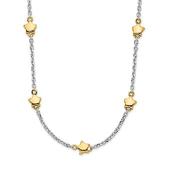 925 Sterling Silver Rhodium plated and Gold Flashed 7 star With 1.5inch Ext. Necklace 16 Inch Jewelry Gifts for Women