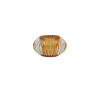 Light & Living Tealight 11x6.5cm - Pertu Clear Glass And Orange