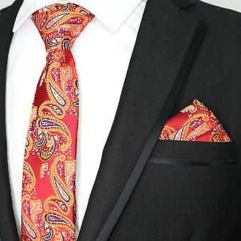 Strawberry red orange blue paisley tie & pocket square