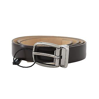Dolce & Gabbana Brown Plain Leather Silver Buckle 2.5 Cm Belt