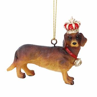 Gisela Graham Resin Dachshund with Crown Dec