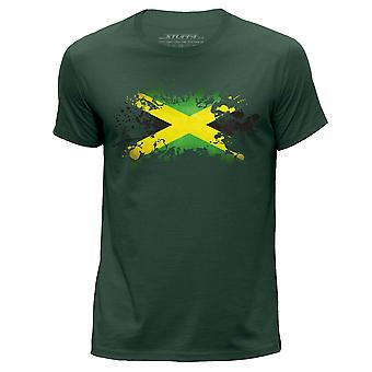 STUFF4 Herren Runde Hals T-Shirt/Jamaica/Jamaika Flagge Splat/dunkelgrün
