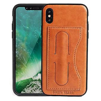 Pour iPhone XS,X Case,Fierre Shann Elegant Luxury Protective Leather Cover,Brown