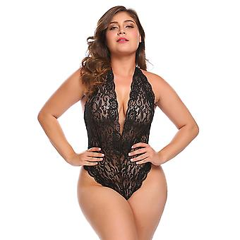 Womens Plus Size Sexy Halter Style Open Back Lace Teddy Lingerie Romper Bodysuit