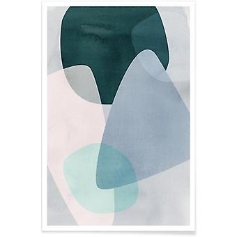JUNIQE Print - Graphic 150C - Abstract & Geometric Poster in Blue & Grey