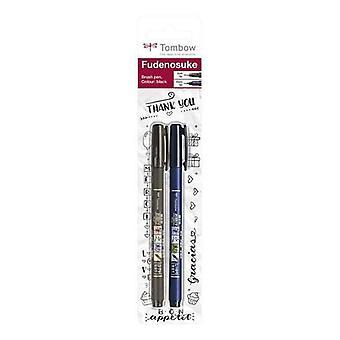 Tombow Brush pen Fudenosuke blister zwart 2 pc - zacht, hard 19-WS-BHS-2P