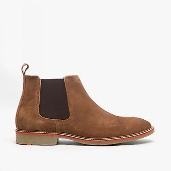 Roamers Caldwell Mens Suede Leather Chelsea Boots Brown