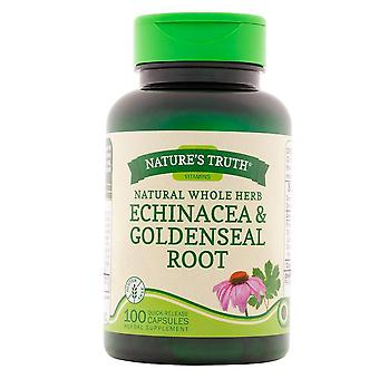 Natur 's sandhed naturlige hele urt echinacea & gyldensæl rod, kapsler, 100 ea