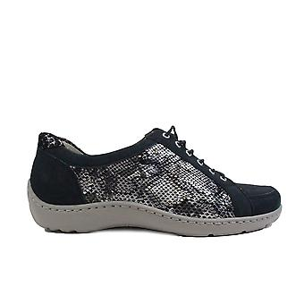 Waldläufer Henni 496005 431 217 Dragon Navy Leather Womens Lace Up Casual Trainer Shoes