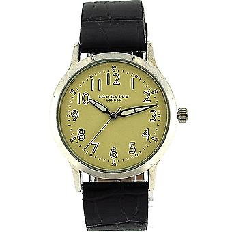 Identité Londres base Gents cadran Beige Superluminova noir PU bracelet Watch AN73