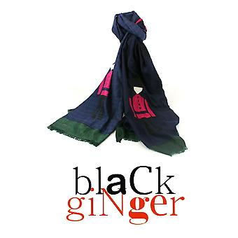 Black Ginger Blue & Green 100% Cotton Scarf with Soldier Design (721-565)