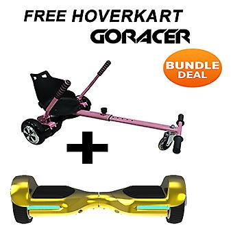 G PRO Gold Chrome Segway con un Racer Hoverkart in rosa