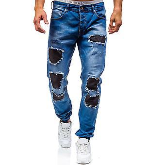 Allthemen Men's Jeans Cotton Mid-Waist Four Seasons Hole Casual Jeans