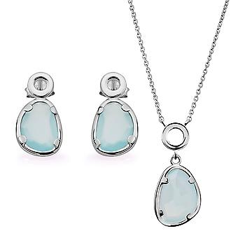 Orphelia Silver 925 Pendant and chain 45cm-Drop Earring with Blue Chalcedony Stone