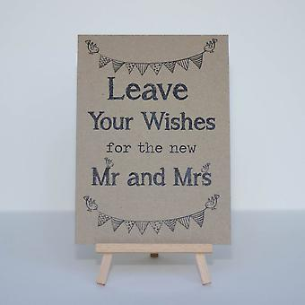 Wedding Guest Book Sign Kraft Brown 'Leave Your Wishes' Sign And Easel Rustic