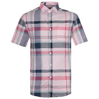 Farah Farron Modern Fit Pastel Pink Checked Short Sleeve Shirt