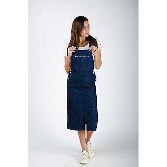 The #2002 womens pinafore overall rinsed