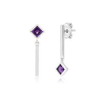 Micro Statement Mismatched Amethyst Drop Earrings in 9ct White Gold 162E0268019