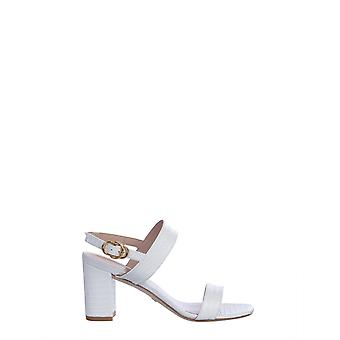 Stuart Weitzman Austine75miniprintedcrocwhite Women's White Leather Sandals