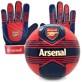 Arsenal FC Officiel Junior Gift Set Taille 4 Gants de football et gardien de but