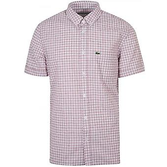 Lacoste Regular Fitting Short-Sleeved Red Check Shirt