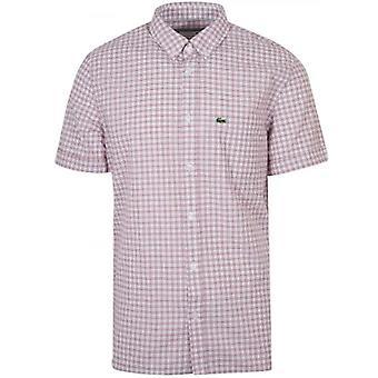 Lacoste Регулярные Установка короткорукавами красная рубашка check
