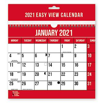 2021 Easy View One Month Per Page Spiral Bound Wall Calendar