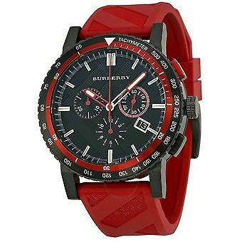Burberry BU9805 The City Chronograph Black Dial Red Rubber Men's Watch