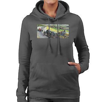 Lørdag kveld post Vintage Race Bil Peter Helck Kvinner's Hette Sweatshirt