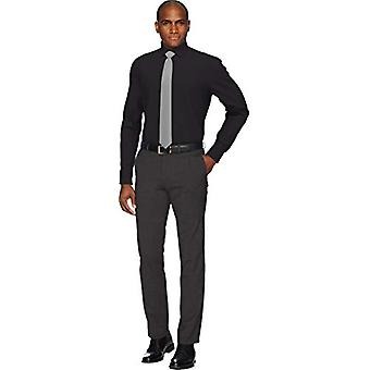 """BUTTONED DOWN Men's Slim Fit Spread Collar Solid Pocket Options, Black 14.5"""" Neck 32"""" Sleeve"""